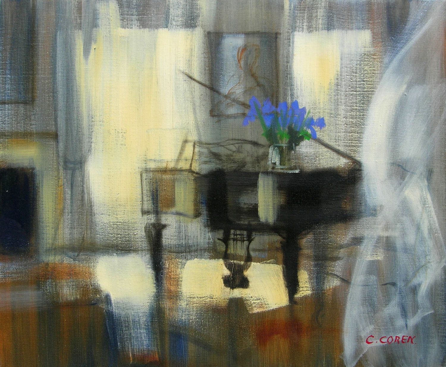 PETIT BOUQUET BLEU  oil, 24 x 20 in.