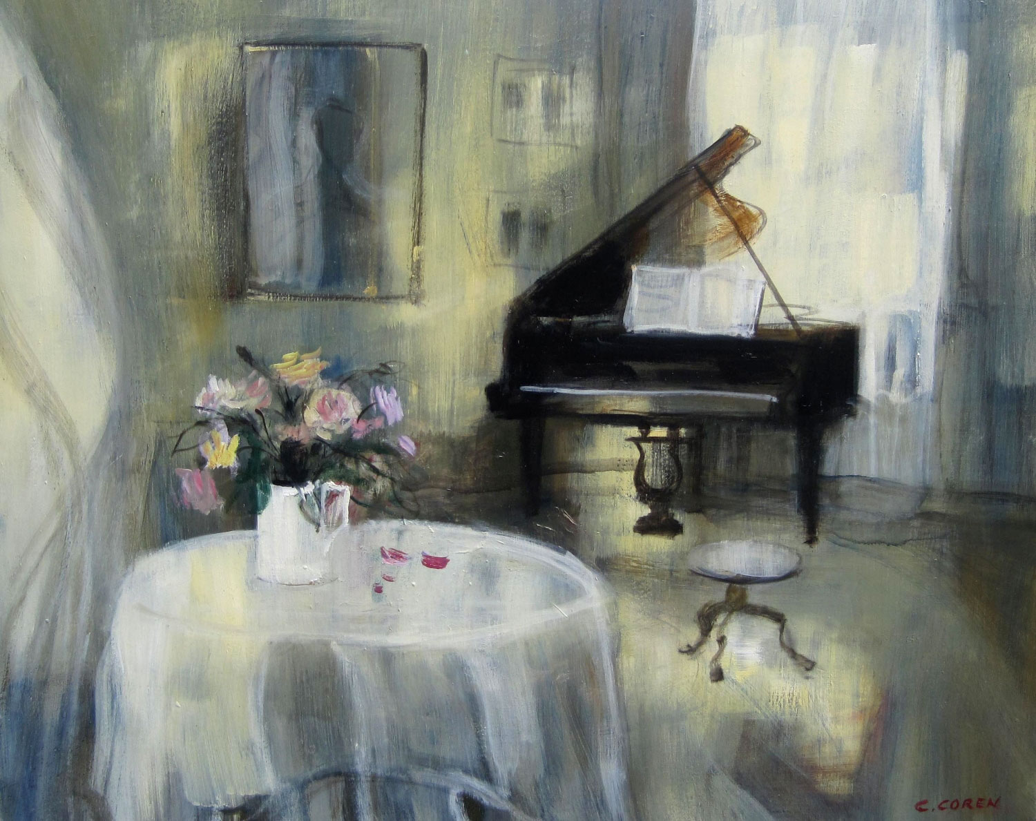 PIANO AU BOUQUET DE ROSES  oil, 40 x 32 in.