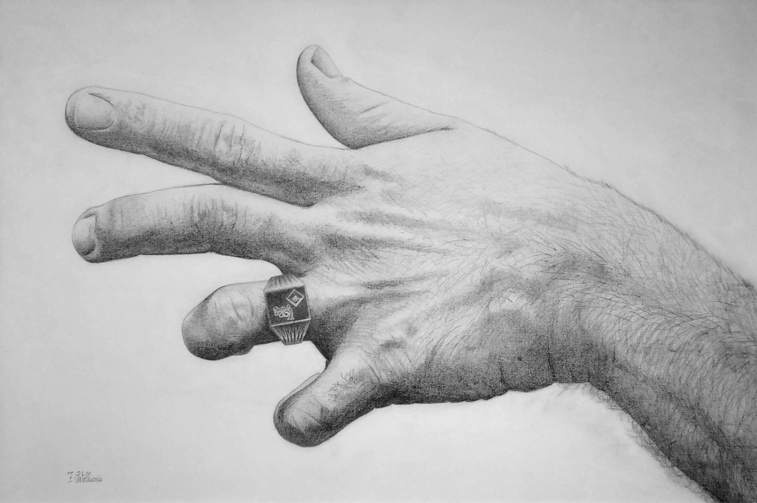 MANO DEL ARTISTA  drawing, 28 x 42 in.