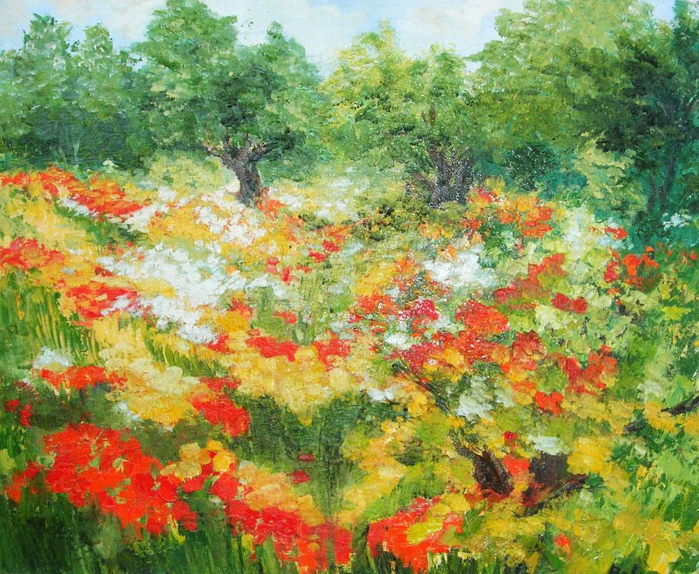 LES PAVOTS DE CALIFORNIE  oil on canvas, 22 x 18 in.