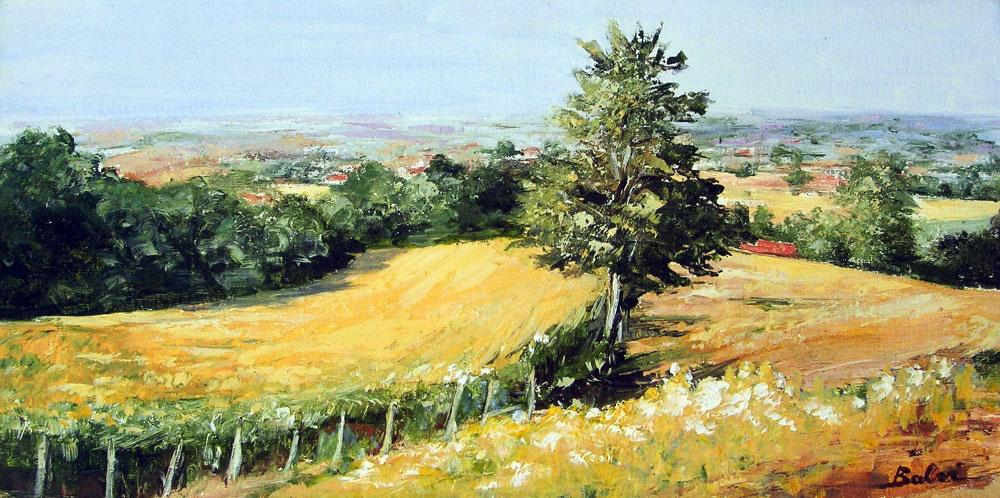 LES HAUTEURS DE CASSEL  oil on canvas, 12 x 24 in.