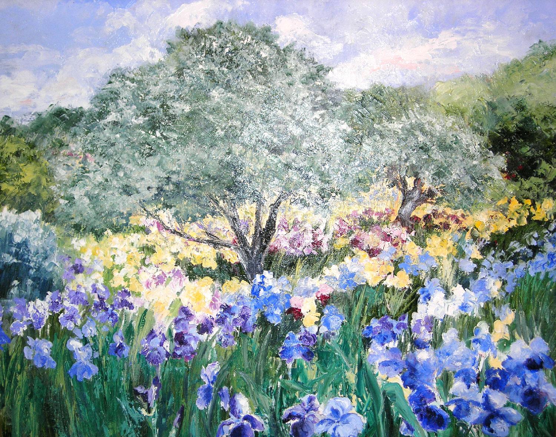 OLIVIERS DANS LES IRIS  oil on canvas, 29 x 24 in.