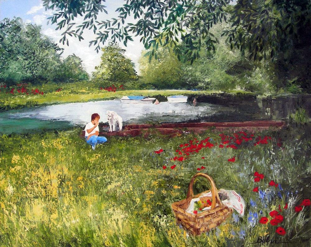 PICNIC AU BORD DE L'ETANG  oil on canvas, 37 x 29 in.
