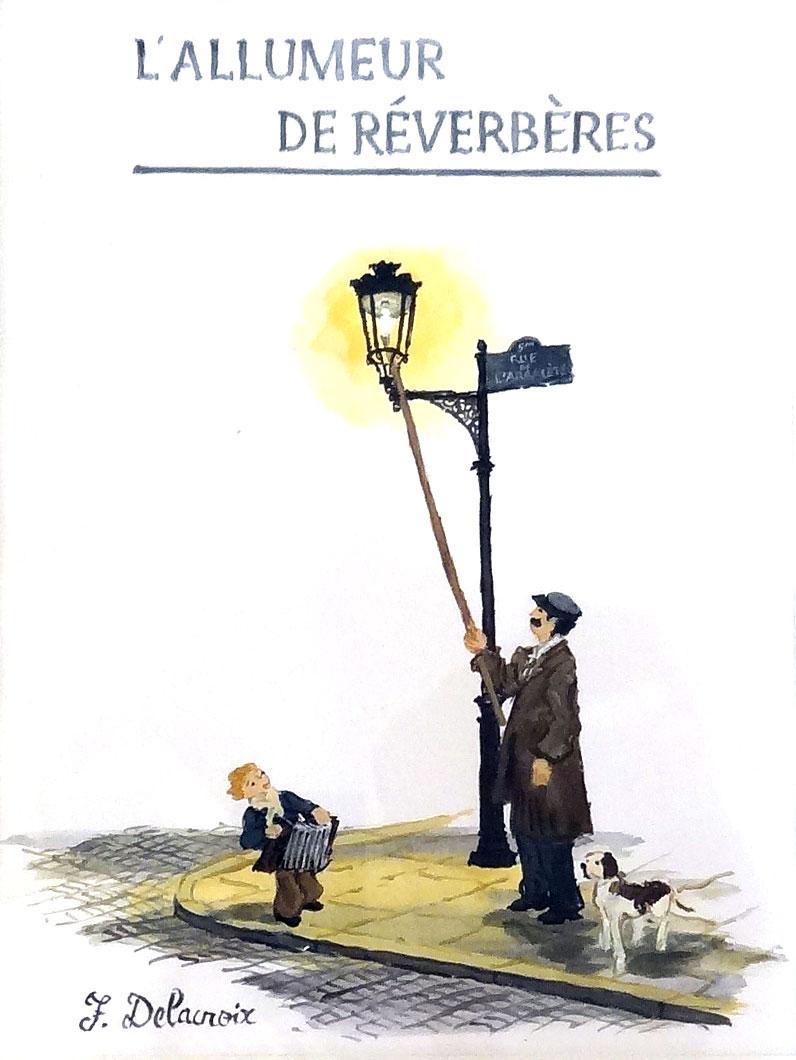 L'ALLUMEUR DE RÉVERBÈRES  gouache on paper, 8 x 12 in.