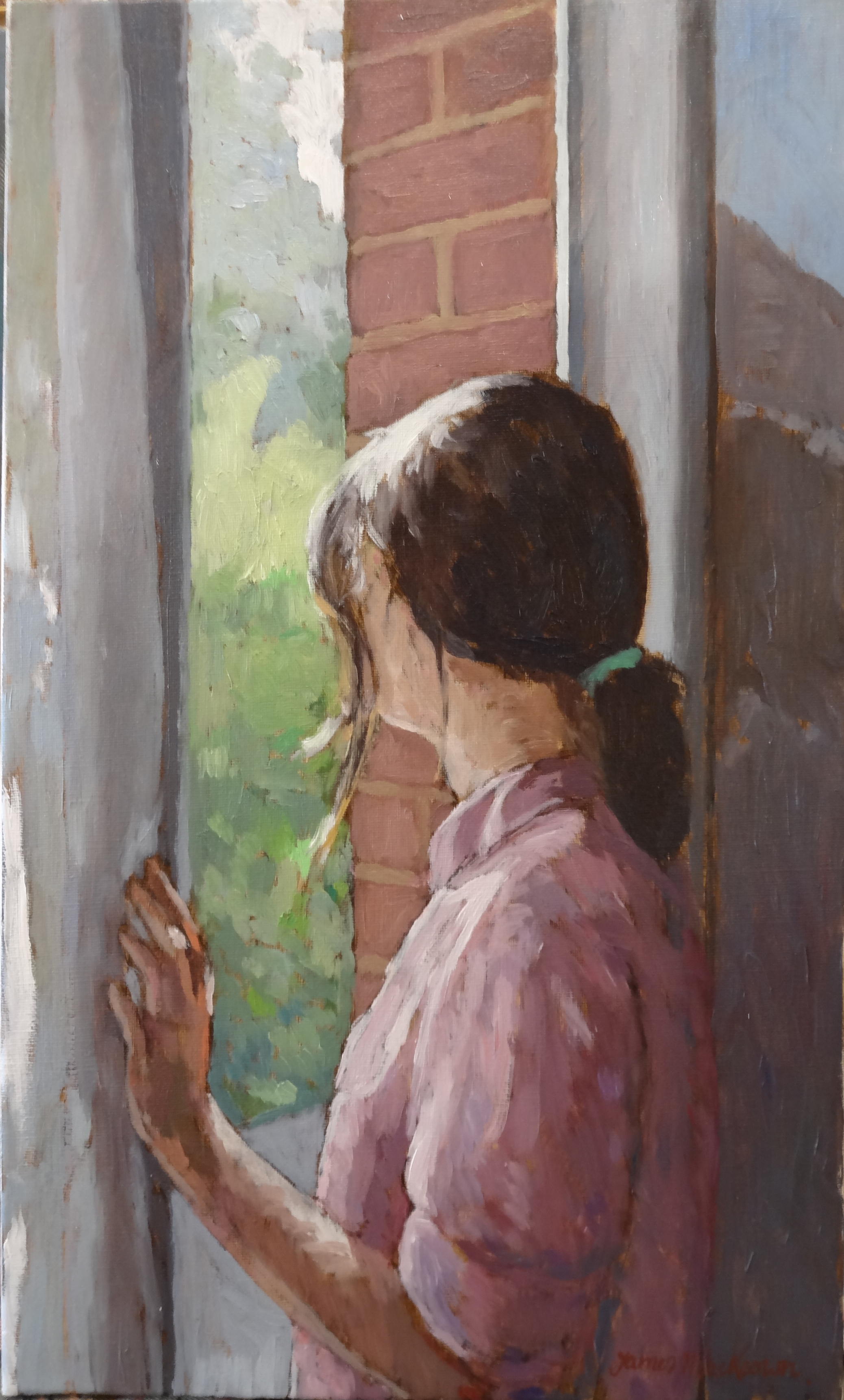 AT THE WINDOW  oil, 13 x 22in.