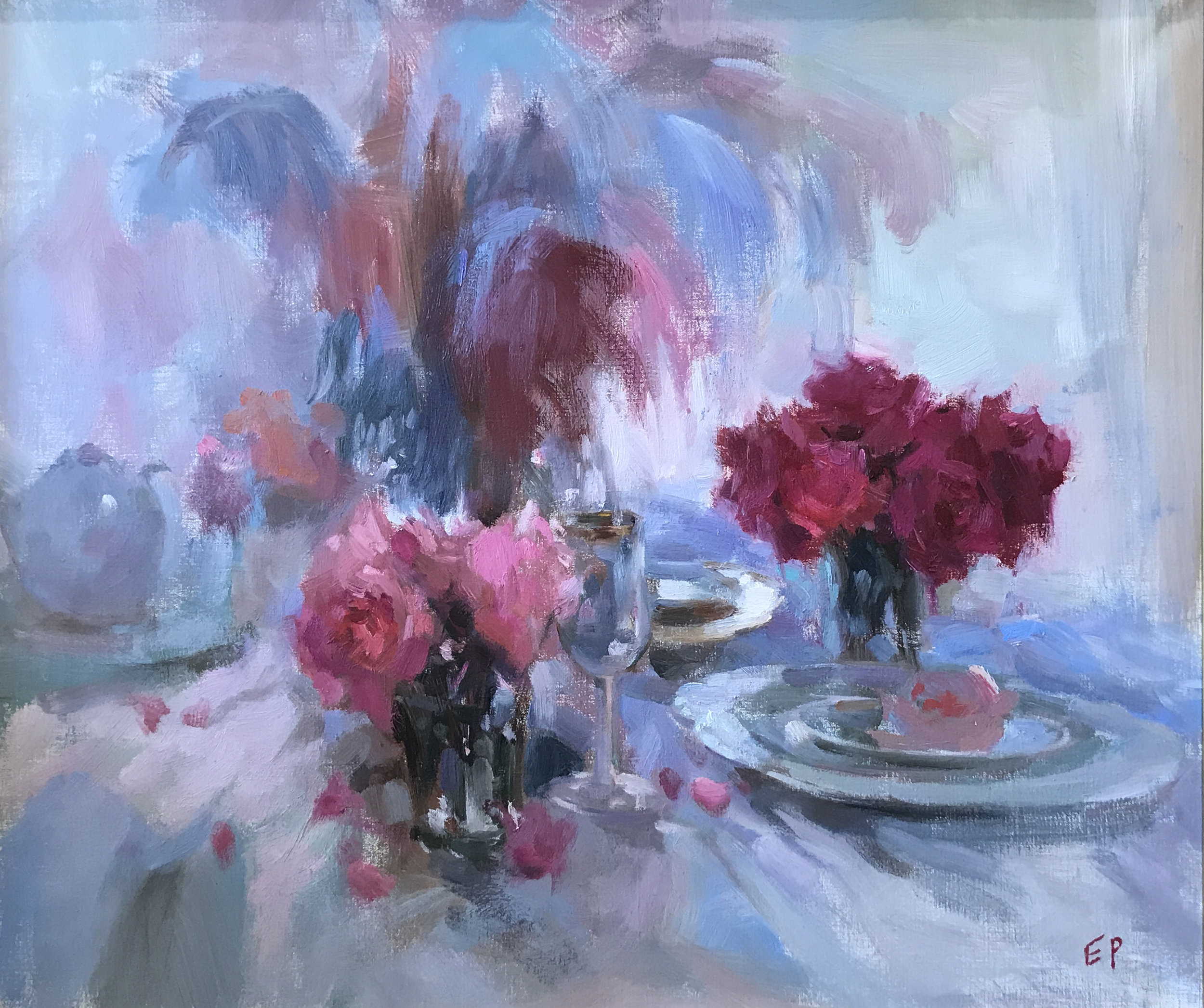 STILL LIFE WITH ROSES  oil,  24 x 30 in.