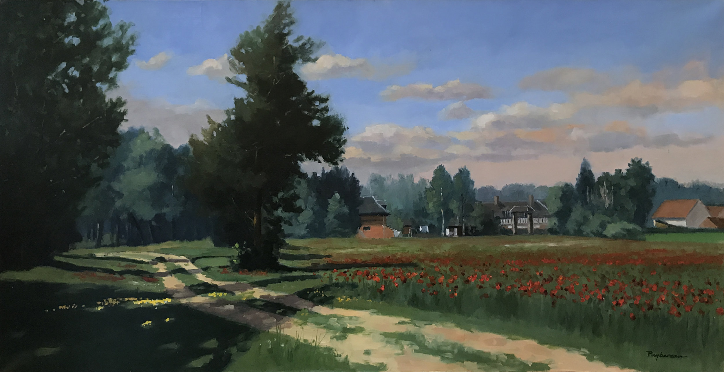 POPPIES  oil, 39x20 in.