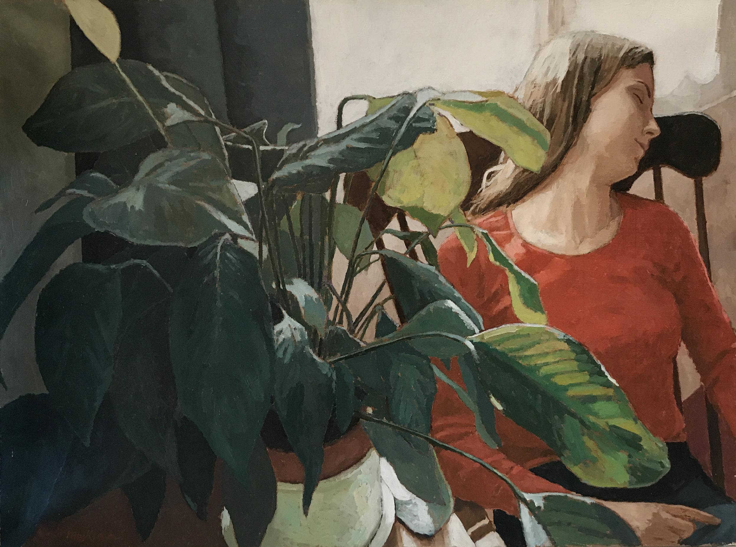 GIRL IN RED  oil, 29 x 39.5 in.