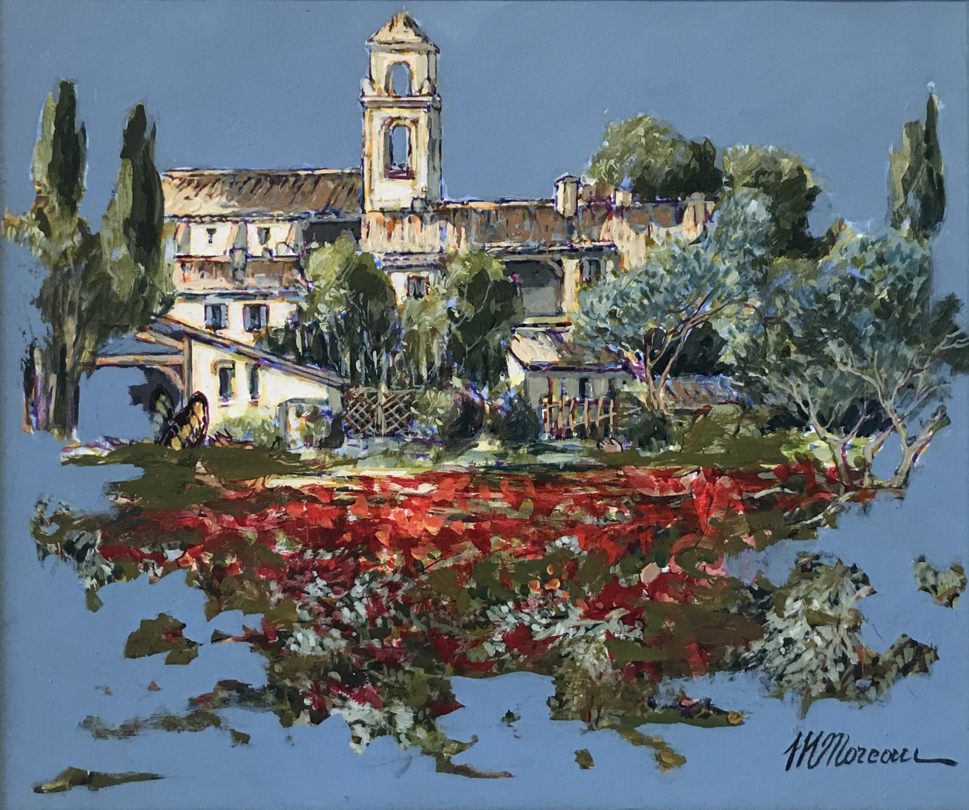 VILLAGE AUX COQUELICOTS  oil, 18 x 15 in.