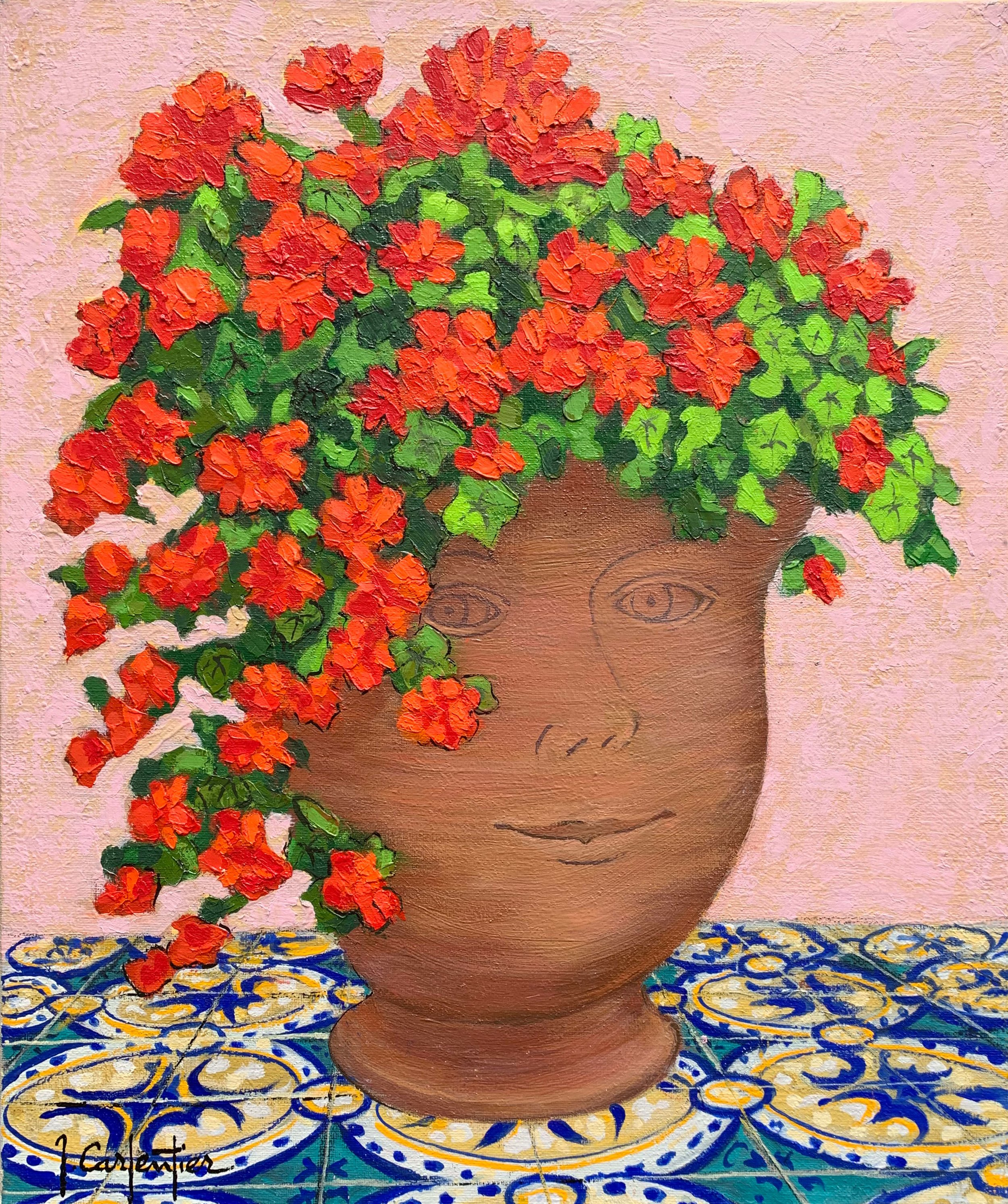 Happy Geranium Vase  oil , 18 x 21.5 in.