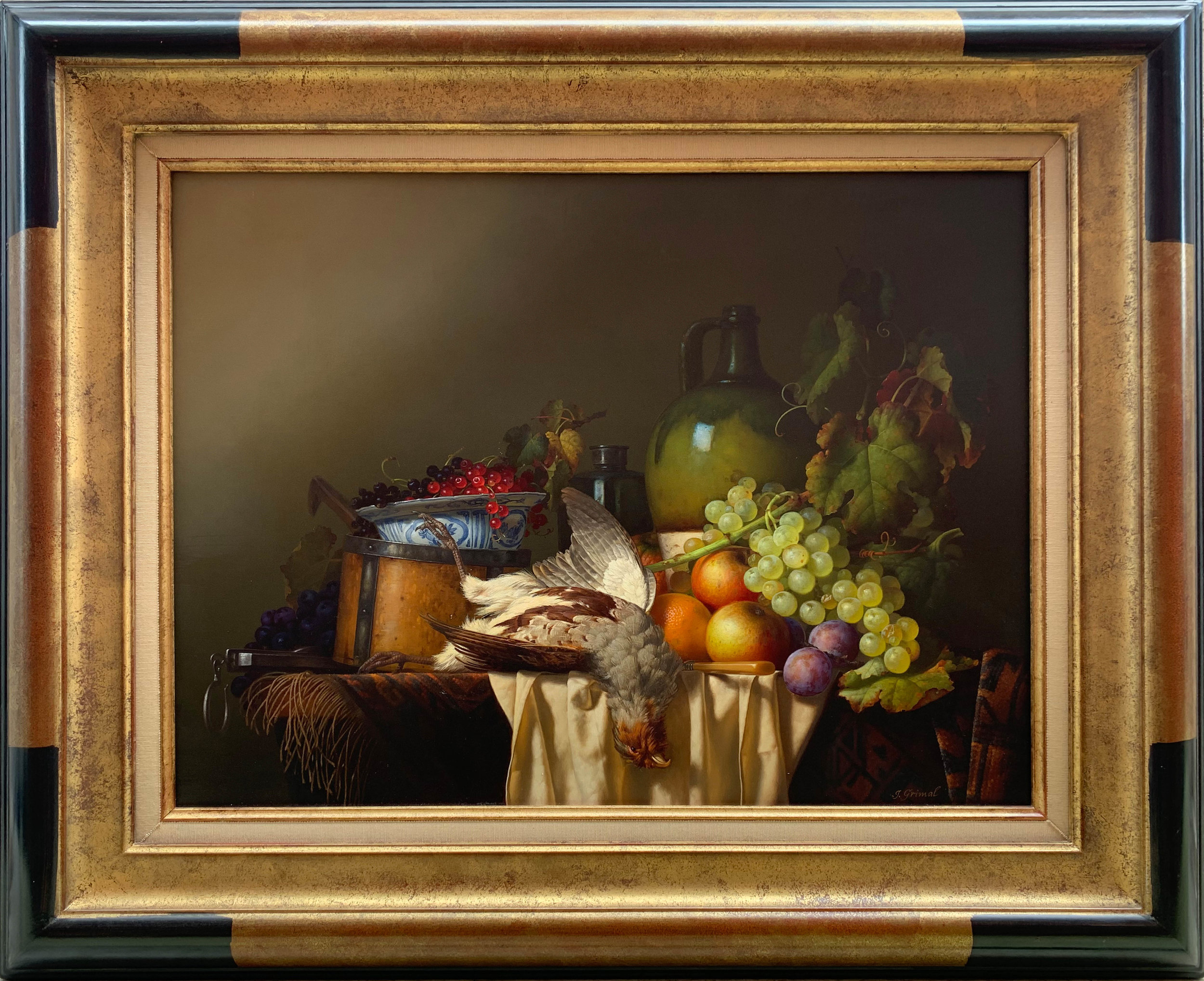 Composition des Fruits en Faison  oil , 32.5 x 26 in. framed