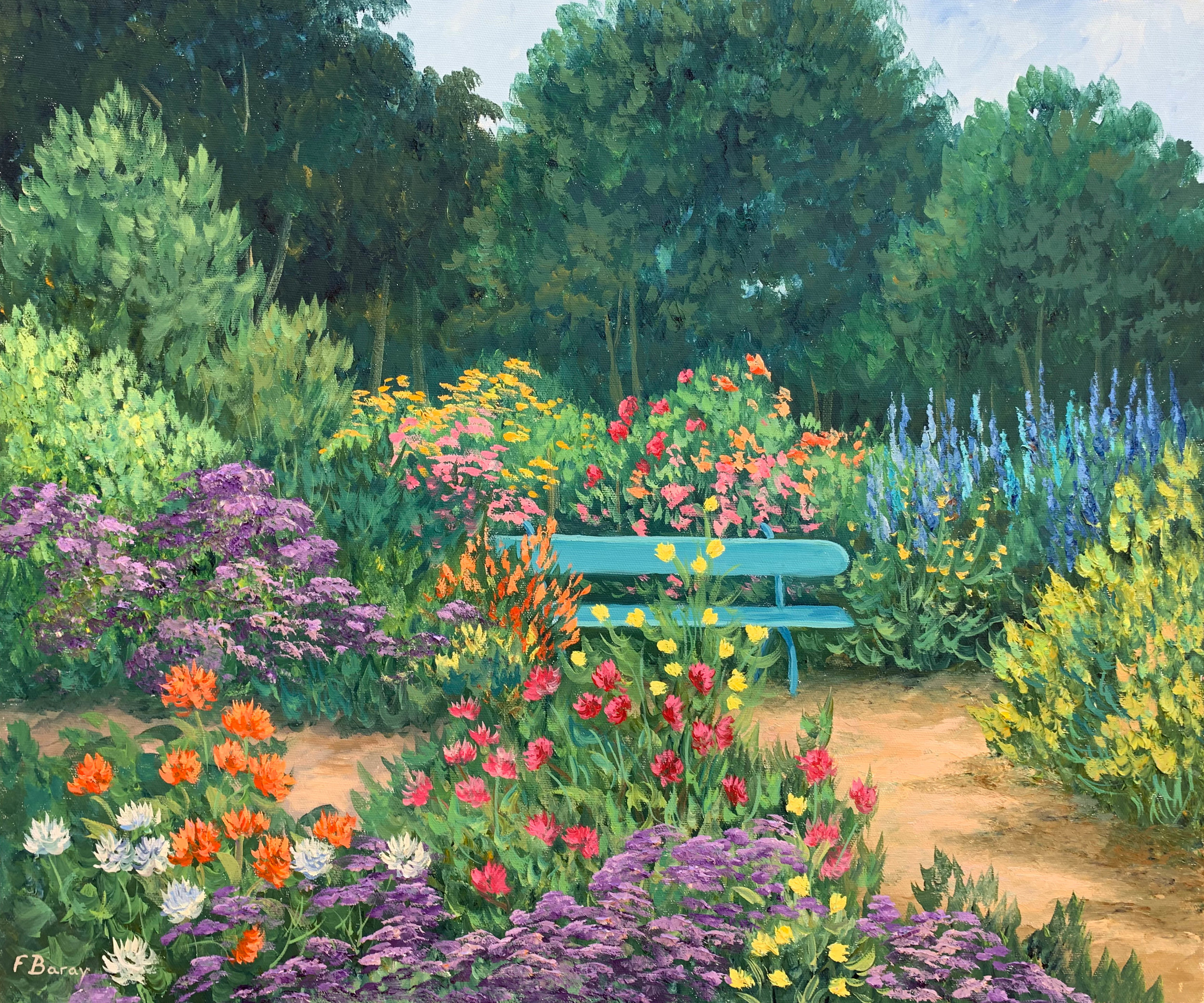 Le Banc du Jardin  oil, 24 x 20 in.