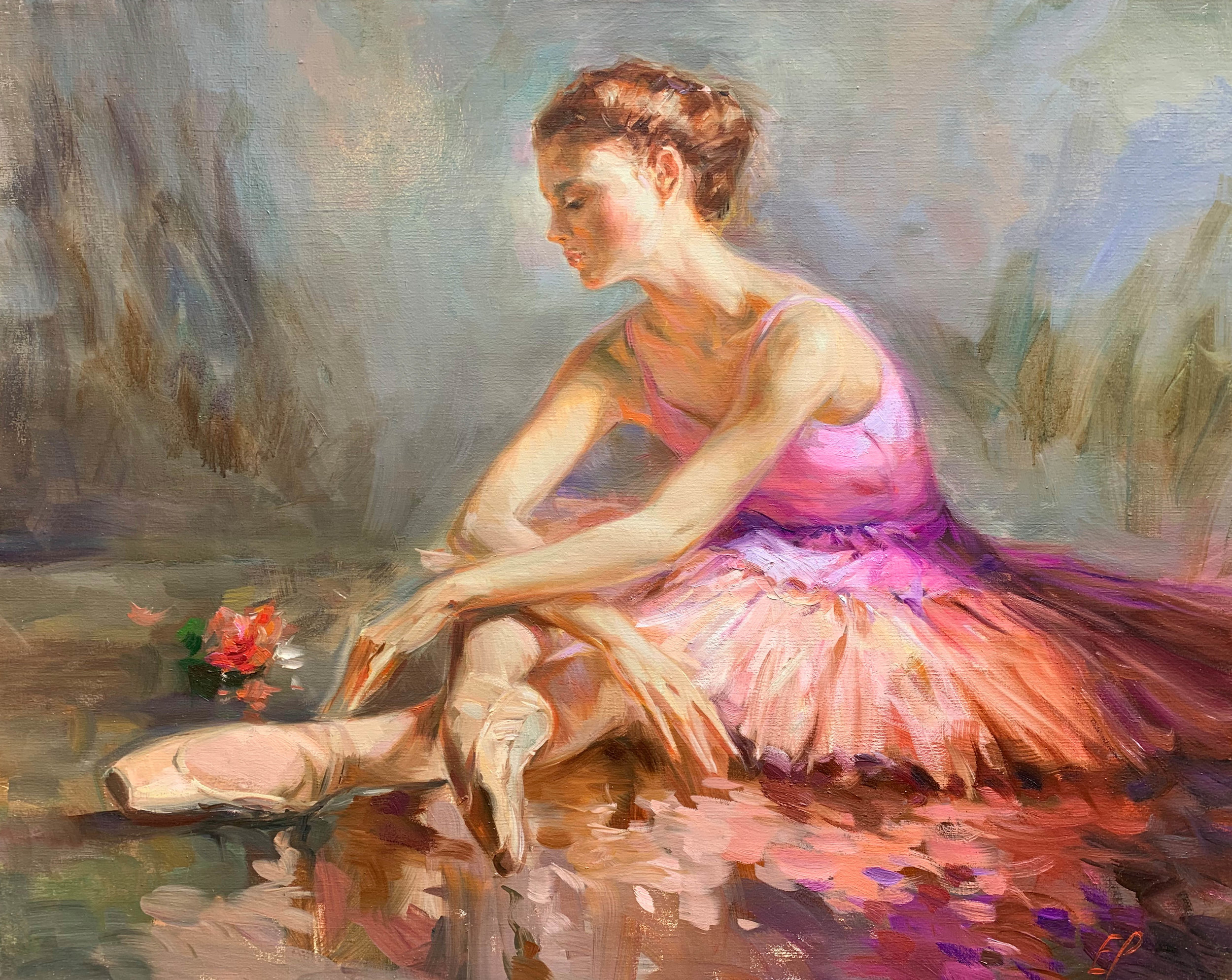 BALLERINA WITH A ROSE  oil, 39 x 31 in.