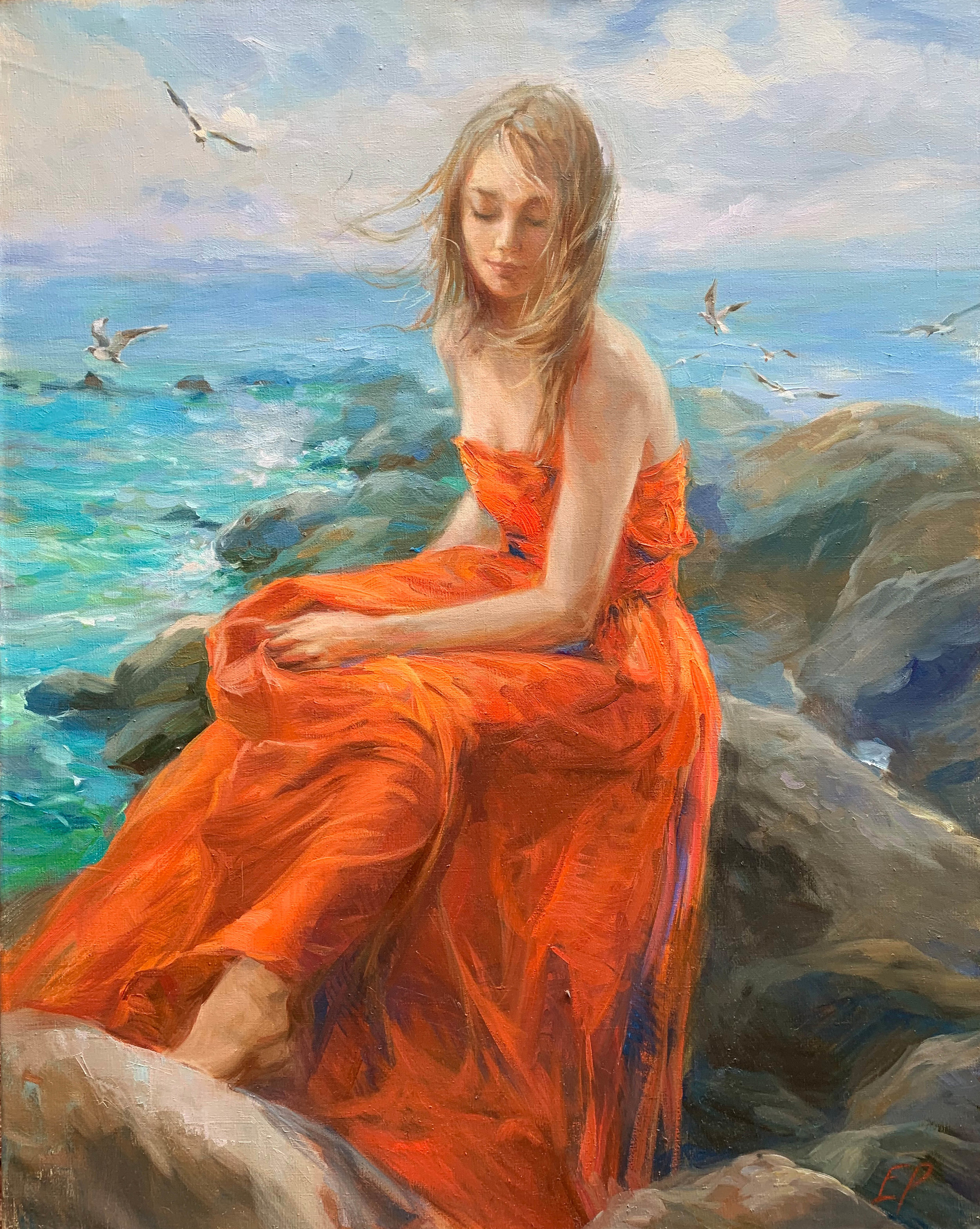 GIRL BY THE SEA  oil, 31.5 x 39.5 in.