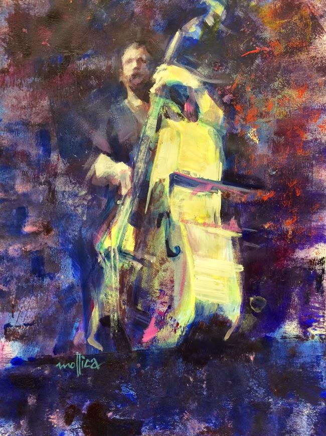 Jazz Musician Painting - Upright Bass