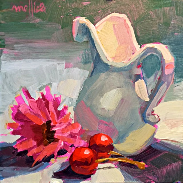 Still Life Painting With Pink Gerbera