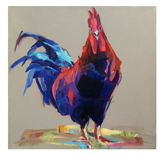 "Rooster Painting 2, 12x12""  acrylic on canvas  $250"