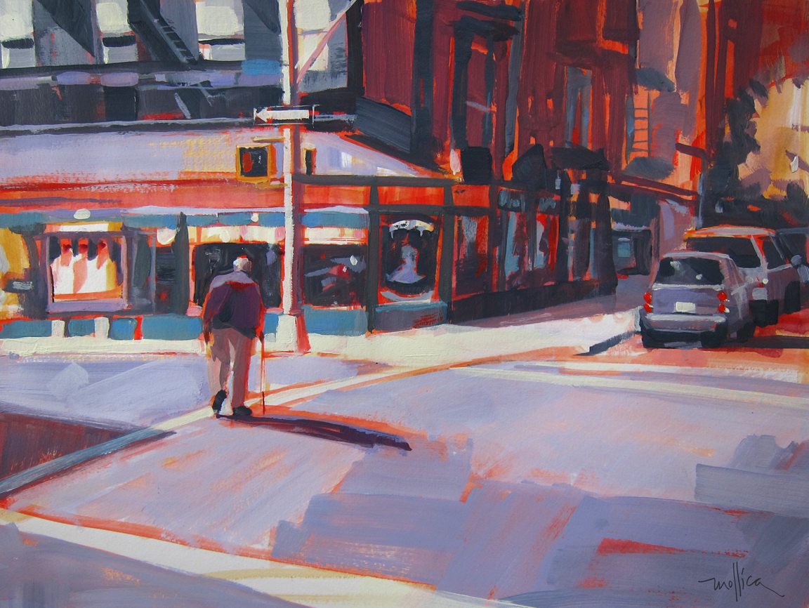 """Crossing First Ave. 22x16"""" acrylic  $375"""