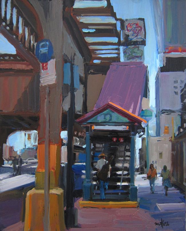 "J Train Blues 8x10"" Oil on Panel $375"