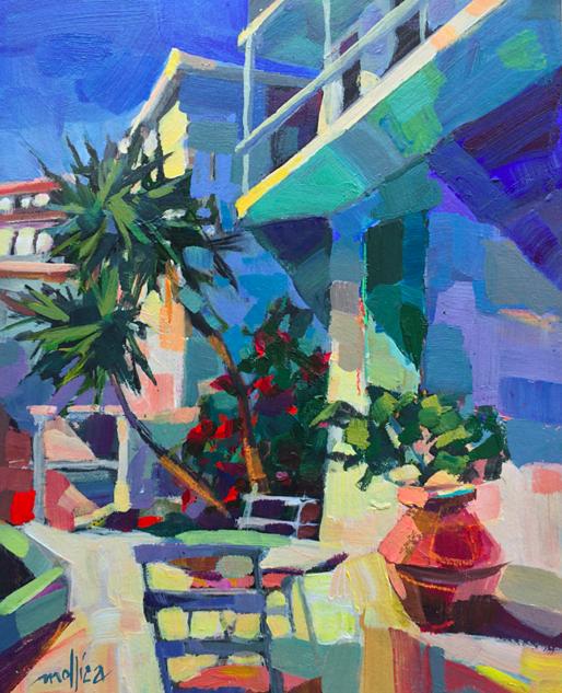 "Greek Courtyard  8x10"" Acrylic"