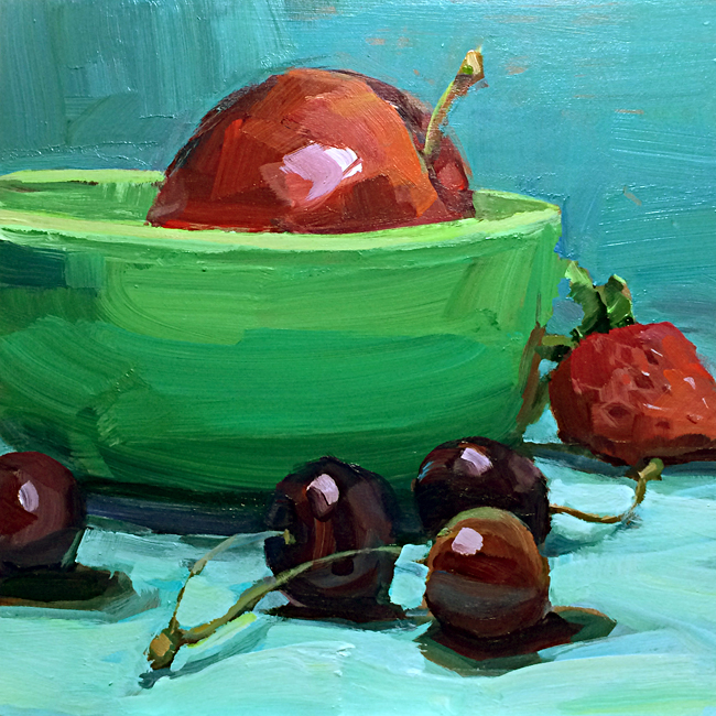"Green Bowl  8x8""  Acrylic  SOLD"