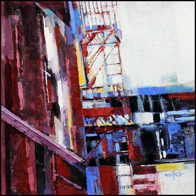 "Chelsea Fire Escapes  14x14""  Acrylic"