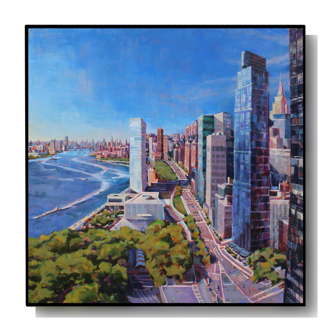 """East Side View of Manhattan, 60x60"""" Acrylic SOLD"""
