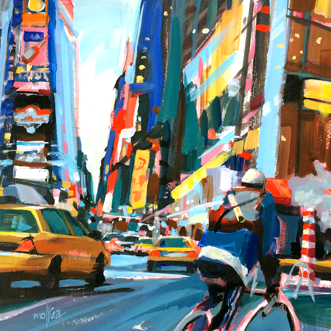 """Times Square Messenger""    14x14""  Acrylic,  New York City, Biker, Cabs, Times Square,"