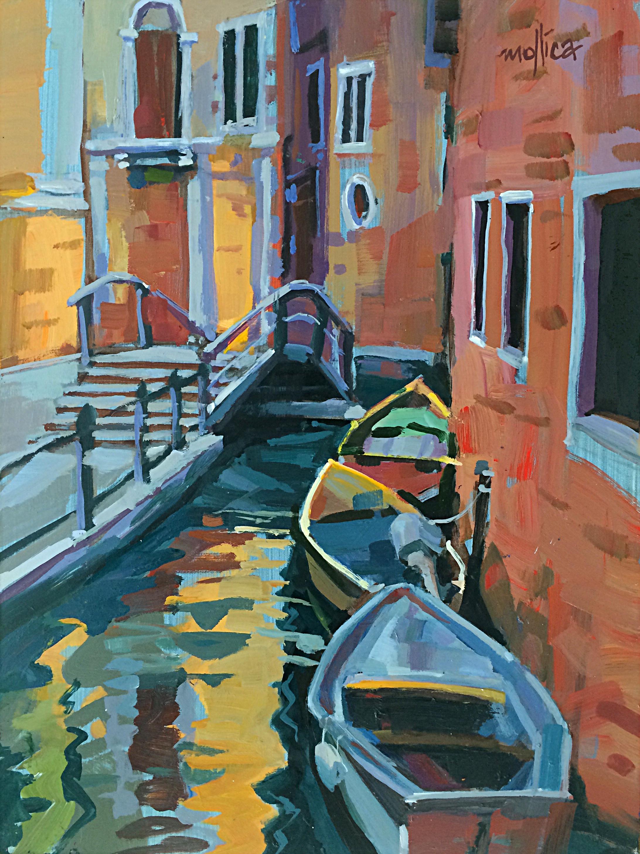"""Venice Canal 12x16"""" Acrylic on Panel"""