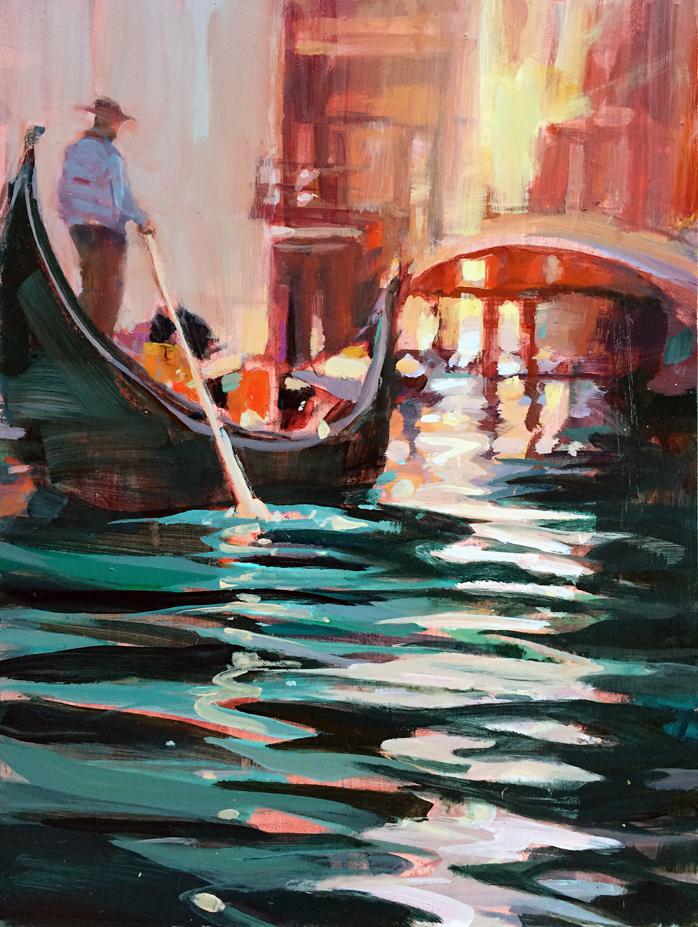 """Gondolier at Sunset 12x16"""" Acrylic"""