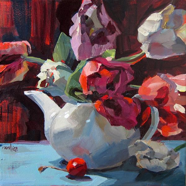 "Summer Tulips 12x12"" Acrylic on Canvas (Sold)"
