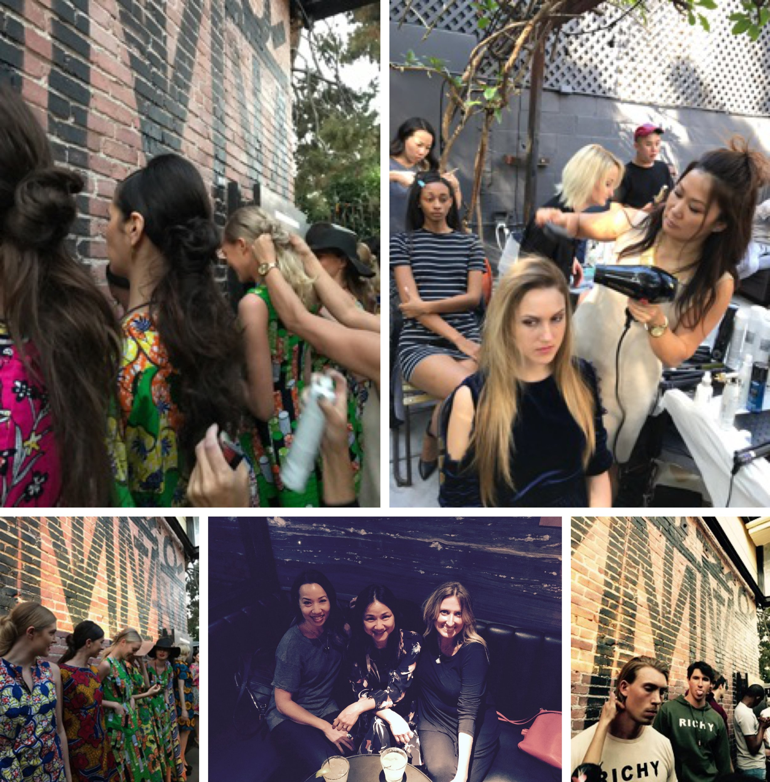 Behind the scenes, backstage in Beverly Hills with hair team:  #LAFW2017  A great time with eight designers and 30 models with Hair Lead Tina Dizon.