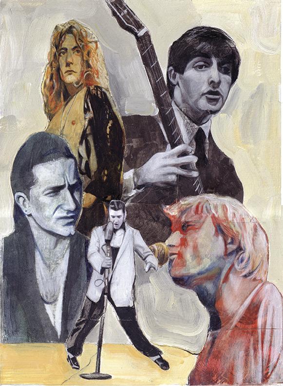 Led Zeppelin, Paul McCartney (Beatles), Bono (U2), Elvis Presley, Kurt Cobain (Nirvana) / American Way Magazine