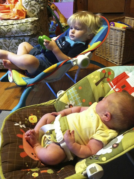 boys in their bouncy seatsManaging a Toddler and a Newborn- the first few weeks home.jpg