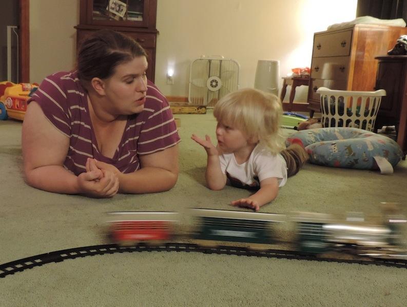 Mama nd Ry with train.JPG