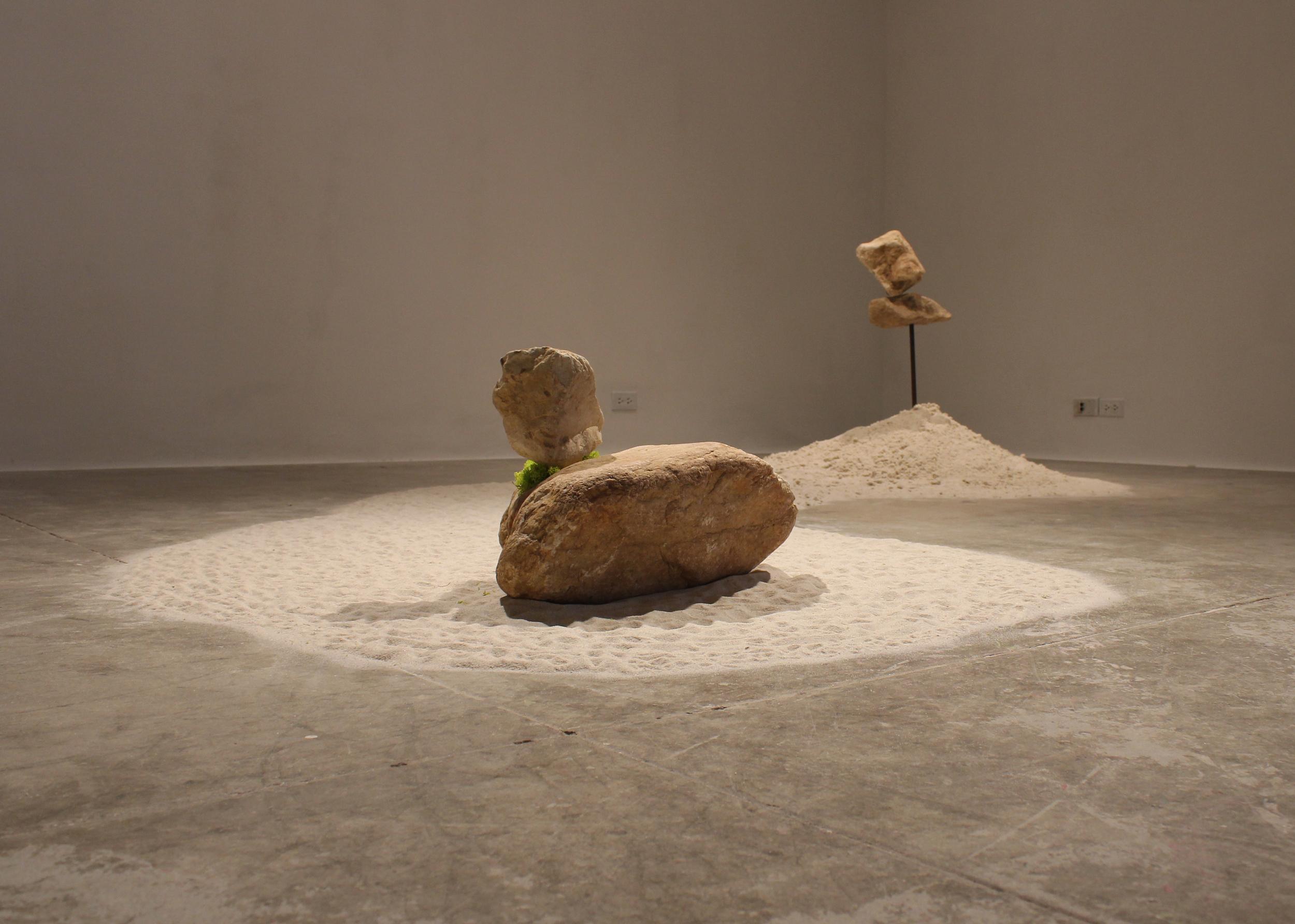 Psycho Spatial Landscape 02, Quartzine Sandstone, Steel, Sand, Reindeer Moss, 2013@Devra Freelander