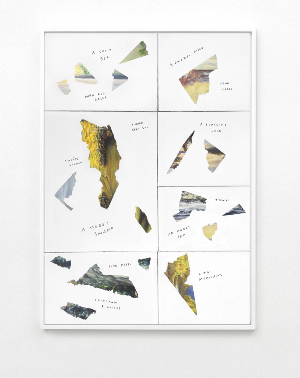 THE LOST IMPRESSIONS, N.02 , Seven found untitled/unsigned paintings, gesso and pen on multiple canvas, 2015 @ Claude Eigan