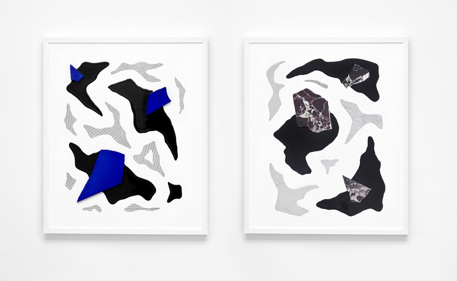 NOTIONS OF PLACES (SERIE 02, N.01 AND N.02),  Industrial acrylic paint, painted marble and old letrasets decals on wood board, 2014 @ Claude Eigan