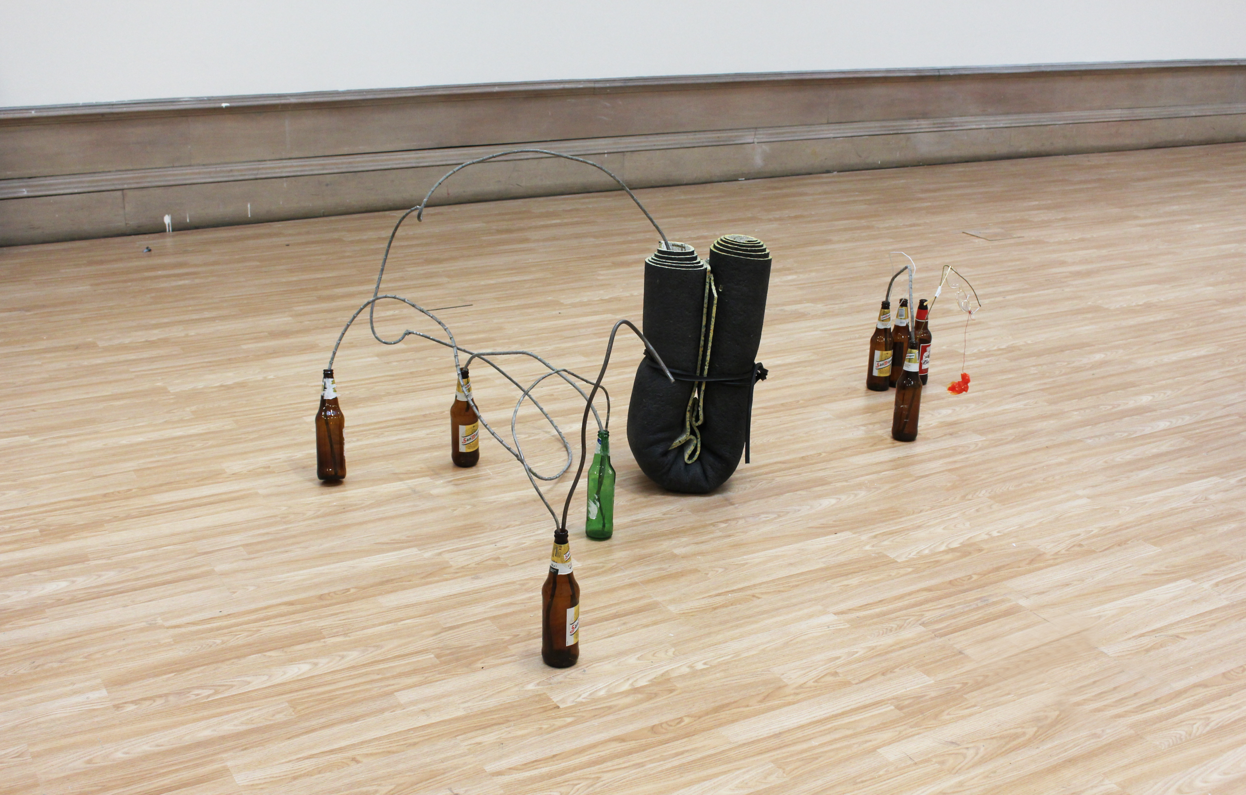 Untitled,  bottles, insulation of carpet, glasses, etc, 2015 @DongKwang Jo