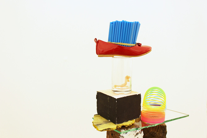 Sorrow was turned into joy,  shoe, pens, glass, brick, metal cup, block, denture, wood block, slinky, 2015 @DongKwang Jo