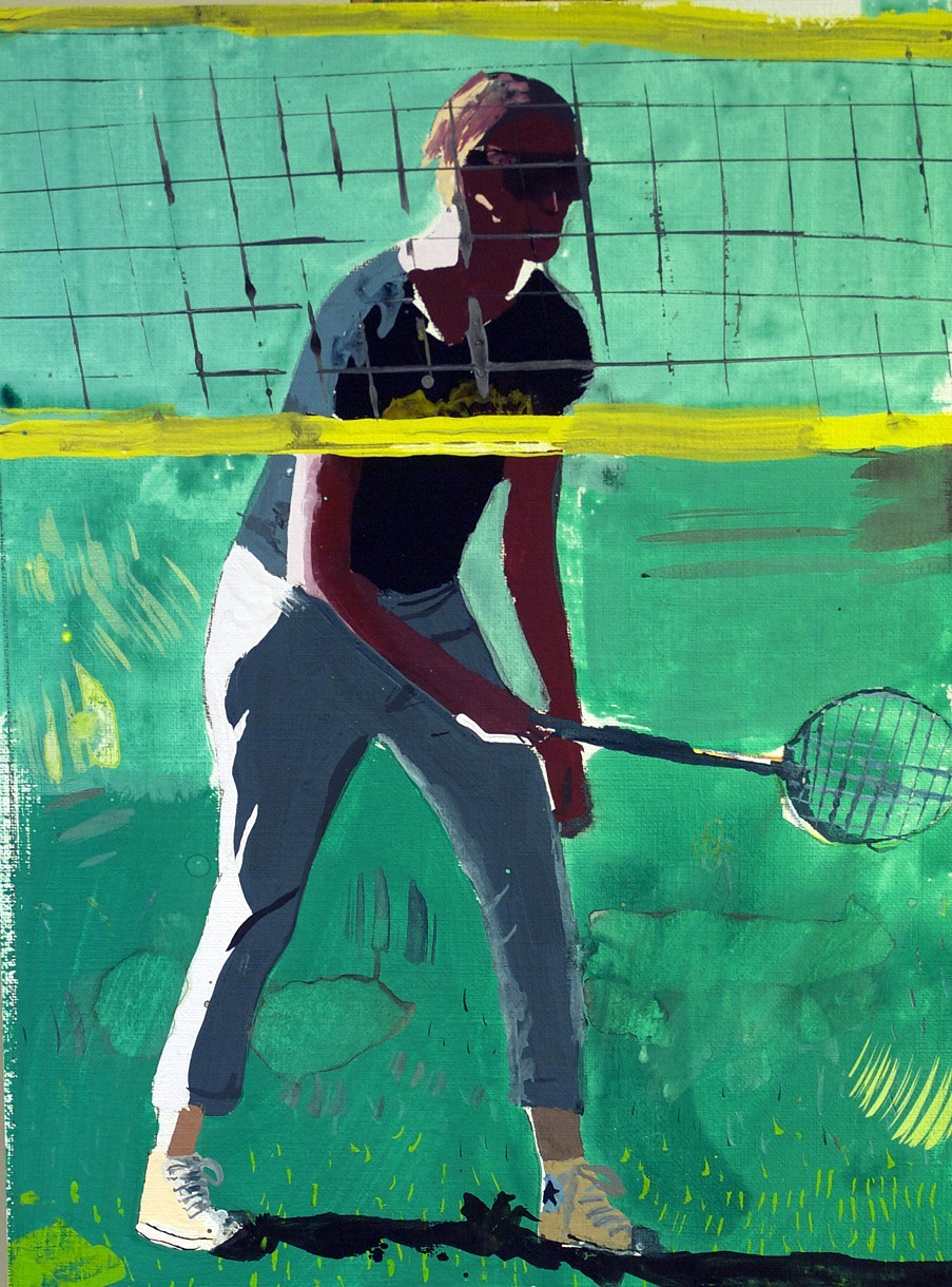 Racquet II,  gouache on paper, 2014 @Brandon Elijah Johnson