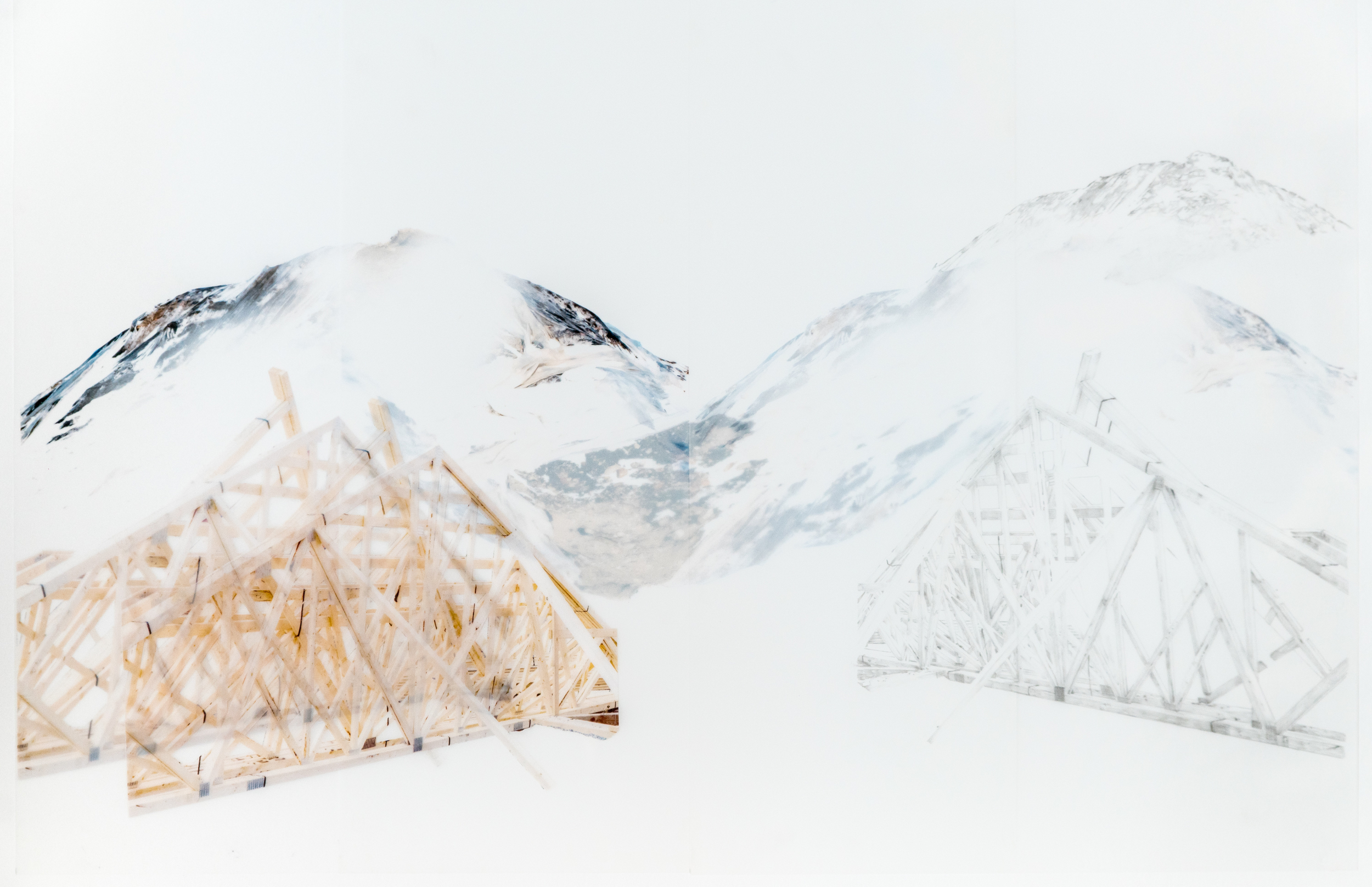 Tapisserie Urbaine/Structure déconstruite ,Digital printing,graphite and collage on 2 sheets of Mylar paper,64 cm x 49 cm,2015 @Cara Déry  Photo by Jean-Michael Seminaro