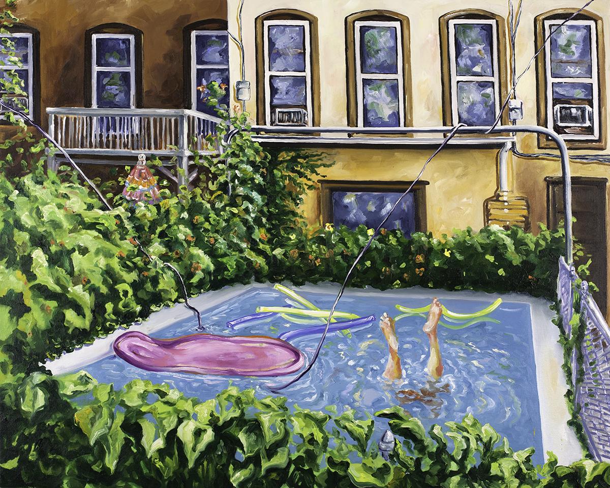 Backyard Swim  , o il on canvas, 2016 @Joe Carrozzo