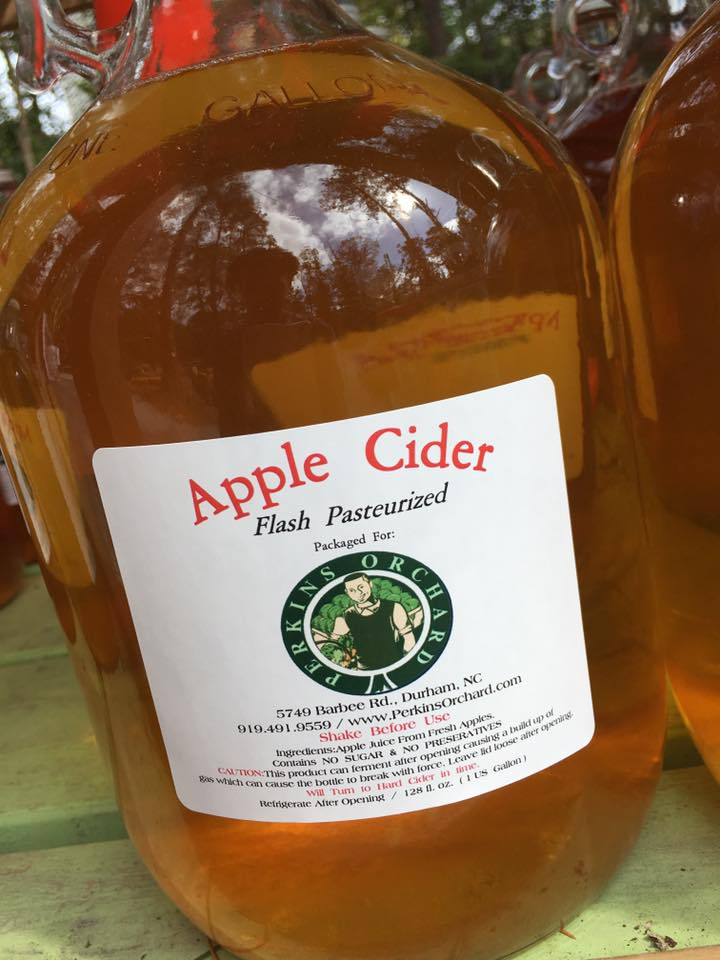 FRESH PRESSED APPLE CIDER FROM NORTH CAROLINA MOUNTAINS. 1 gallon, 1/2 gallon, & 12 oz cups are available.