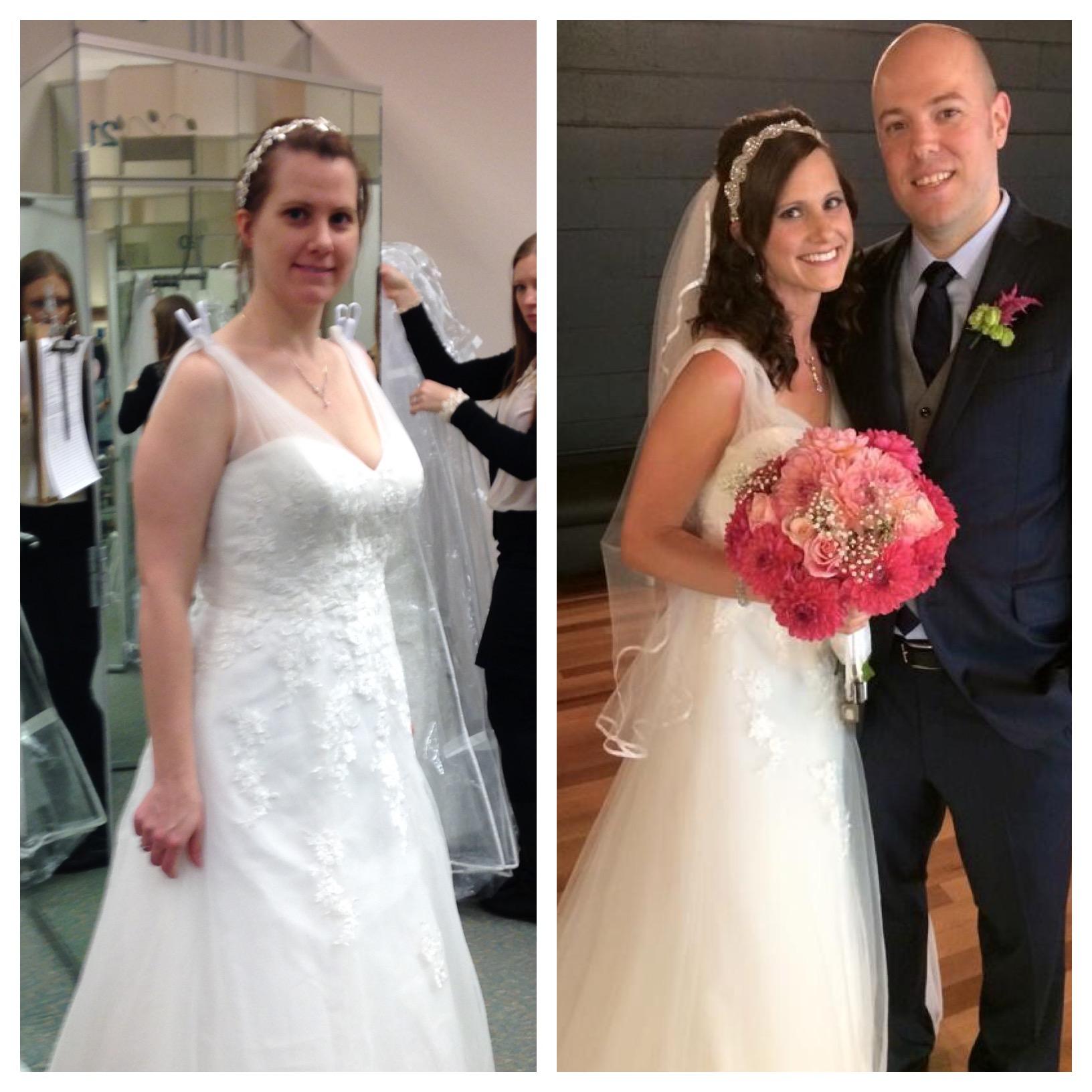 January 24, 2015: buying my wedding dress v. September 15, 2015: wearing my wedding dress
