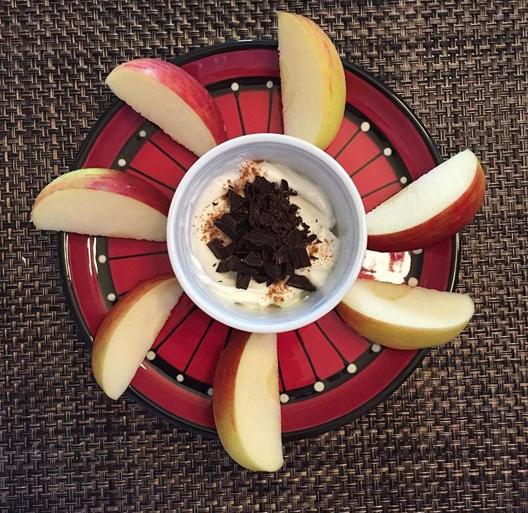 Apple, Greek yogurt, dark chocolate