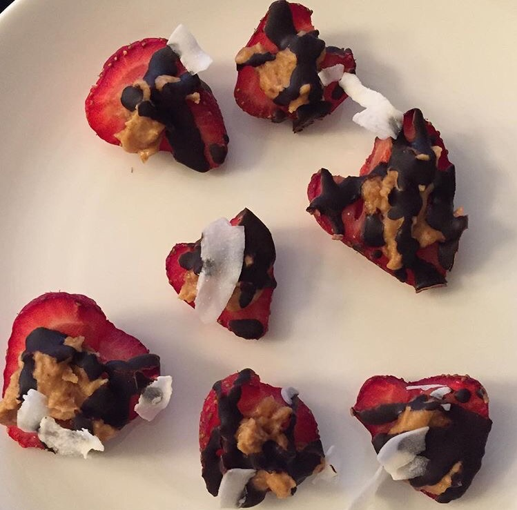 Strawberries, peanut butter, dark chocolate, coconut (also known as Protein Love Bites from Fit Girl Guide Detox)