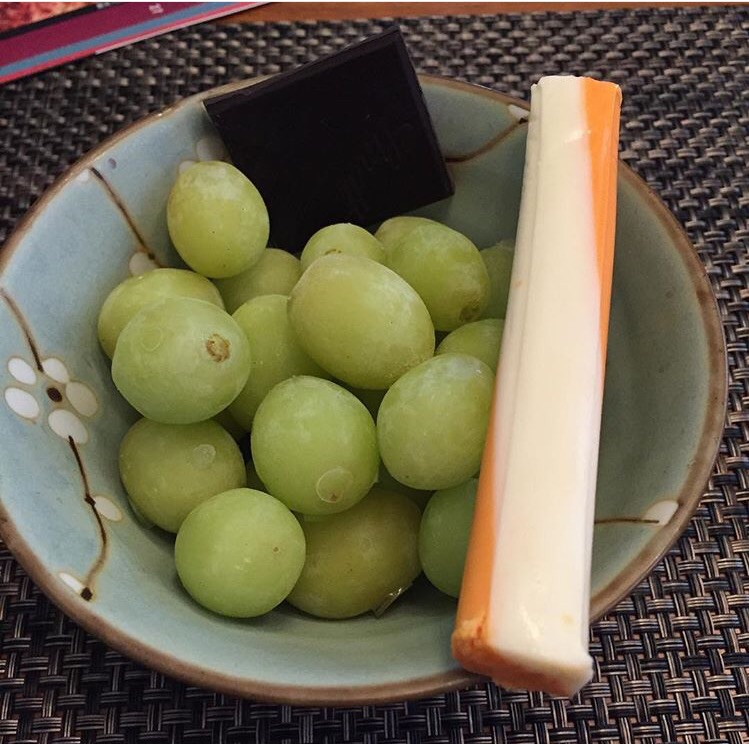 Frozen grapes, string cheese, dark chocolate