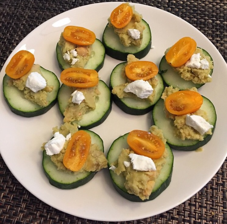 Cucumber, goat cheese, hummus, cherry tomato (also known as Cute Cukes from Fit Girls Guide Cookbook)