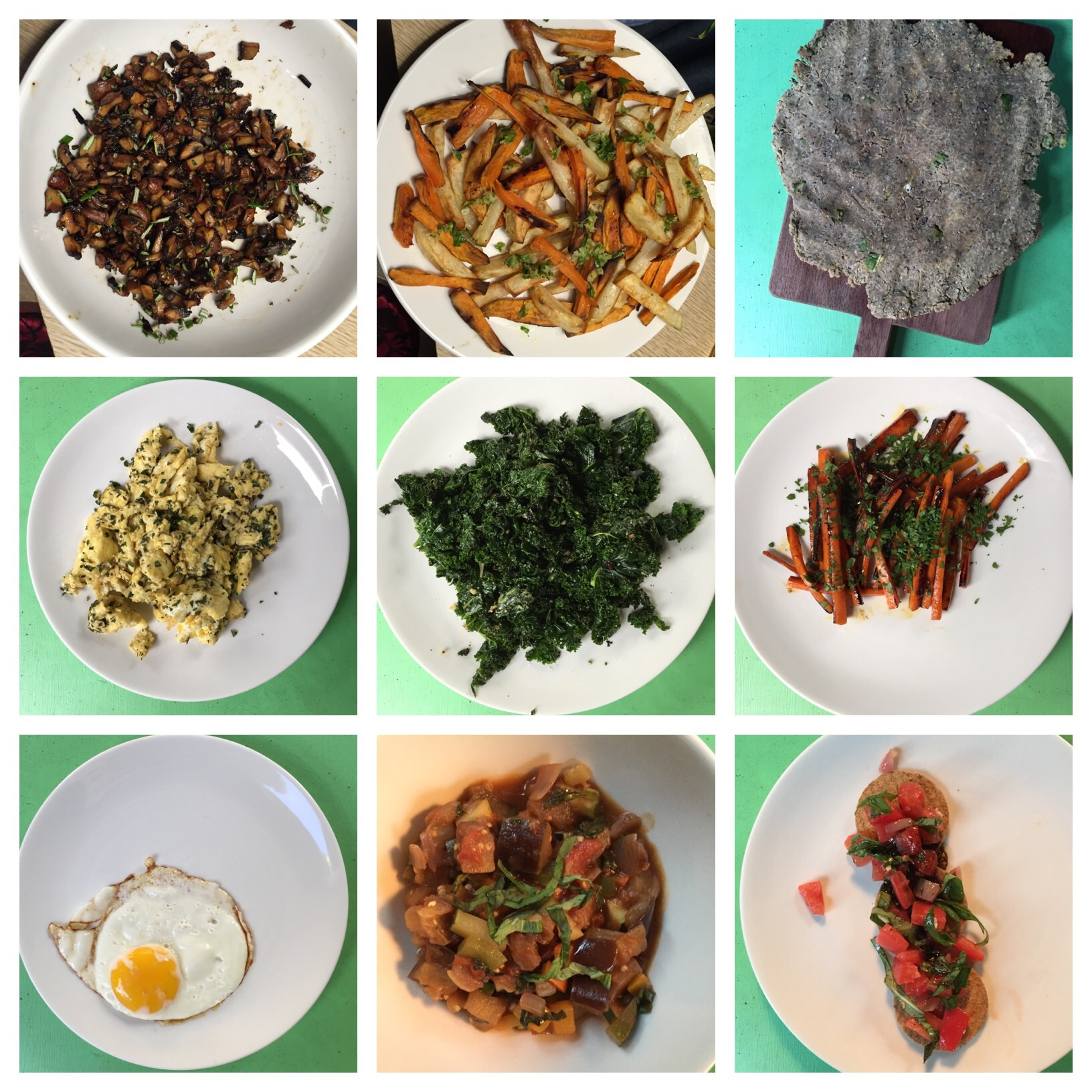 Recipes I made in my online Clean Eating Institute class, which taught me healthy, balanced nutrition: Mushroom Duxelles, Baked Sweet & Redskin Fries, Quinoa Flatbread, Herbed Scrambled Eggs, Garlic Olive Oil Wilted Kale, Glazed Carrots, Sunny Side Up Egg, Ratatouille-Style Vegetable Stew, Tomato Concasse